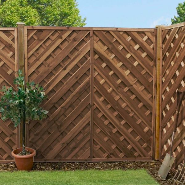 Image of 1.8m x 1.8m Chevron Weave Pressure Treated Fence Panel