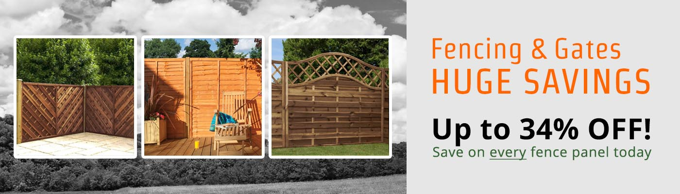 Fencing & Gates... HUGE SAVINGS... Up to 34% OFF! Save on every fence panel today