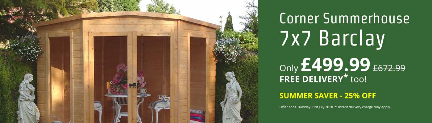 Shire Barclay 7x7 Corner Summerhouse - Summer Saver