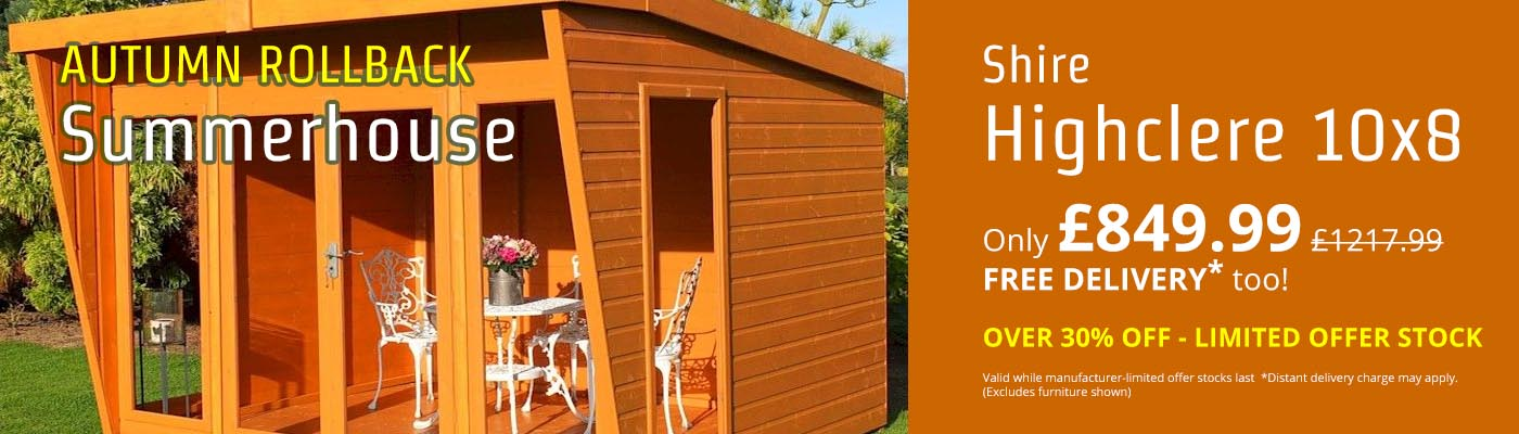 Autumn Rollback - OVER 30% OFF the Shire Highclere 10x8 Summerhouse!