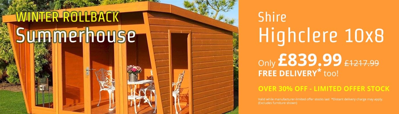 Winter Rollback - OVER 30% OFF the Shire Highclere 10x8 Summerhouse!