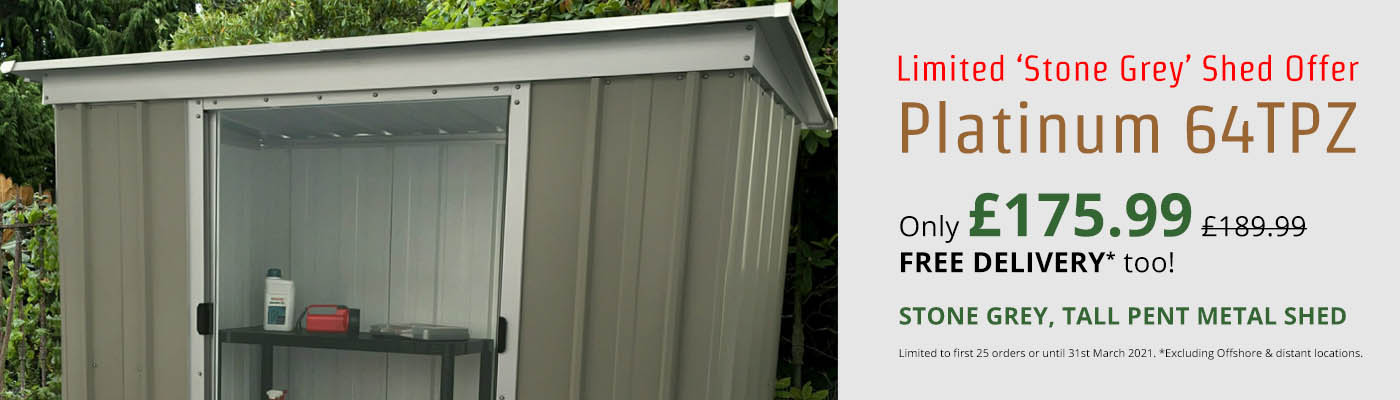 Limited 'Stone Grey' Shed Offer - Only £175.99!