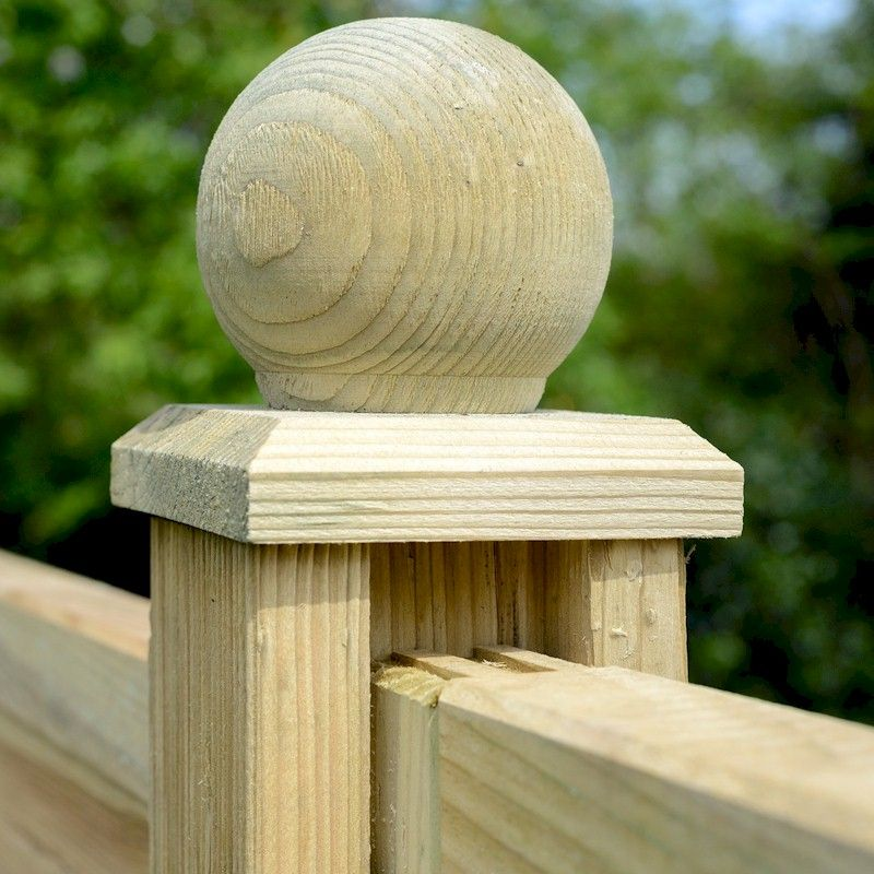 Grange Elite Ball Finial Green Timber Post Cap