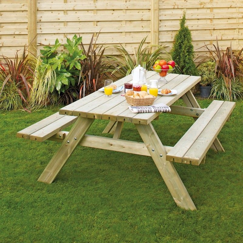 Grange Oblong Garden Table with Seats