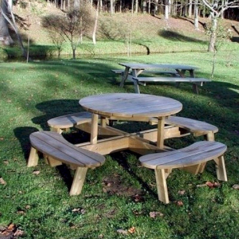 Grange Round Garden Table with Seats - One Garden