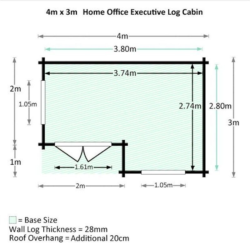home office cabin. Mercia Home Office Executive Double-Glazed 28mm Log Cabin 4 X 3m