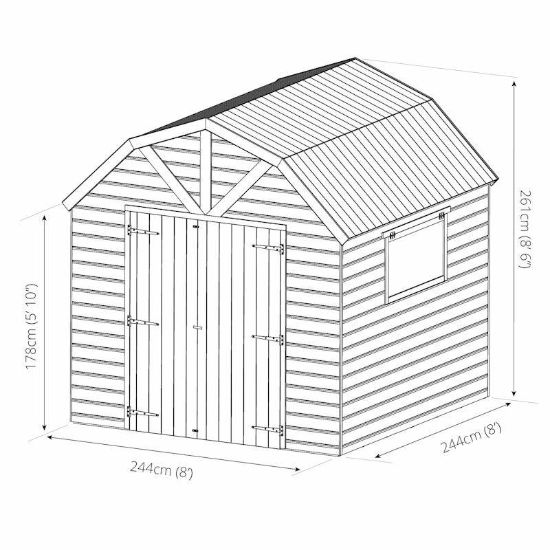 Mercia Premium Shiplap Dutch Barn Shed 8x8 One Garden