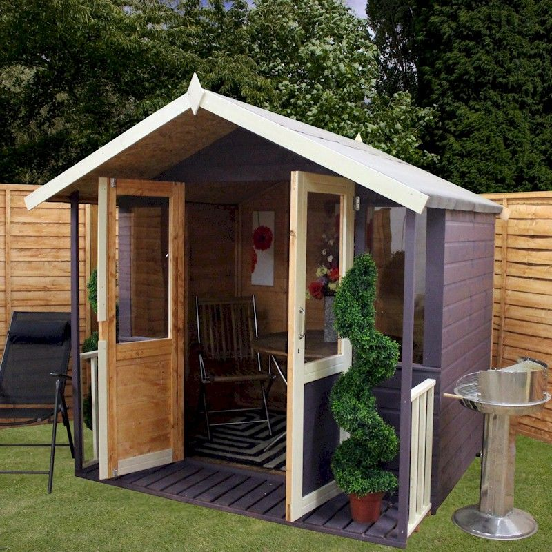 Mercia traditional veranda summerhouse 7x7 one garden for Garden shed 7x7