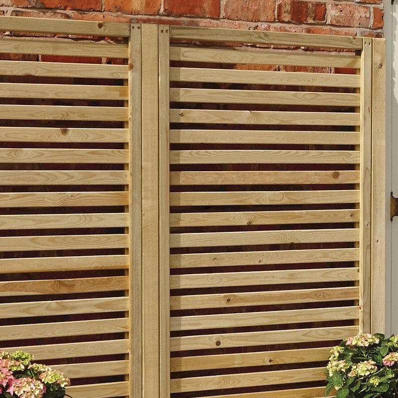 Rowlinson garden creations horizontal slat screen 4 pack for Horizontal garden screening