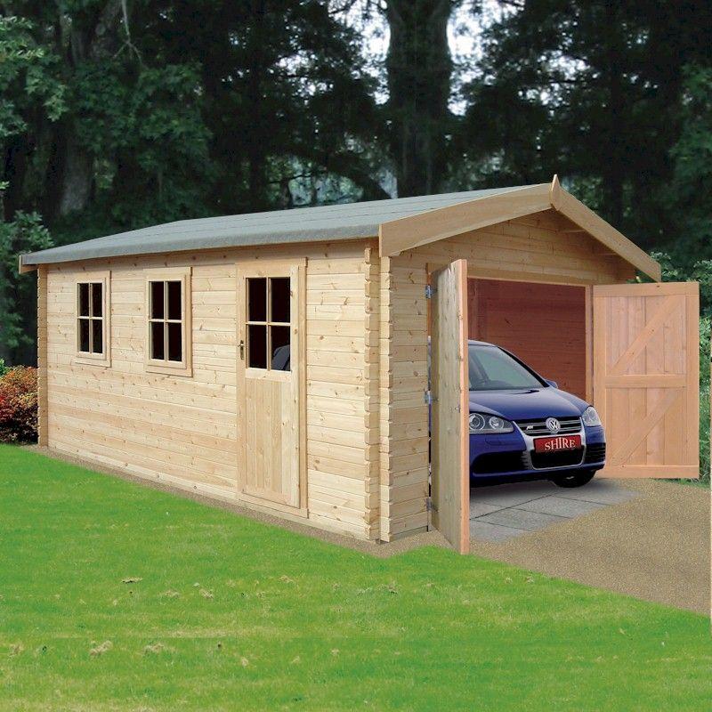 Shire Bradenham 34mm Log Cabin Garage 14x17