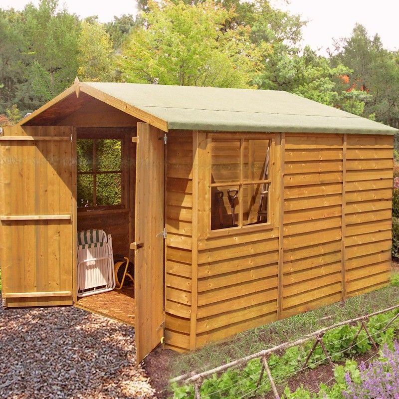 Shire Overlap Garden Shed 10x7 with Double Doors