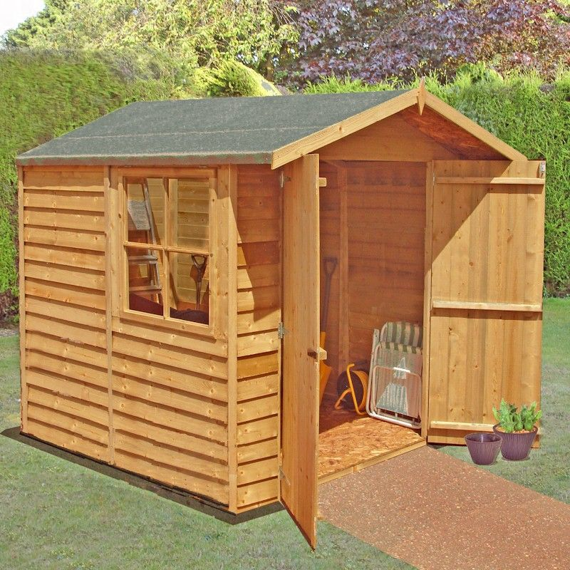 Shire overlap garden shed 7x7 with double doors one garden for Garden shed 7x7