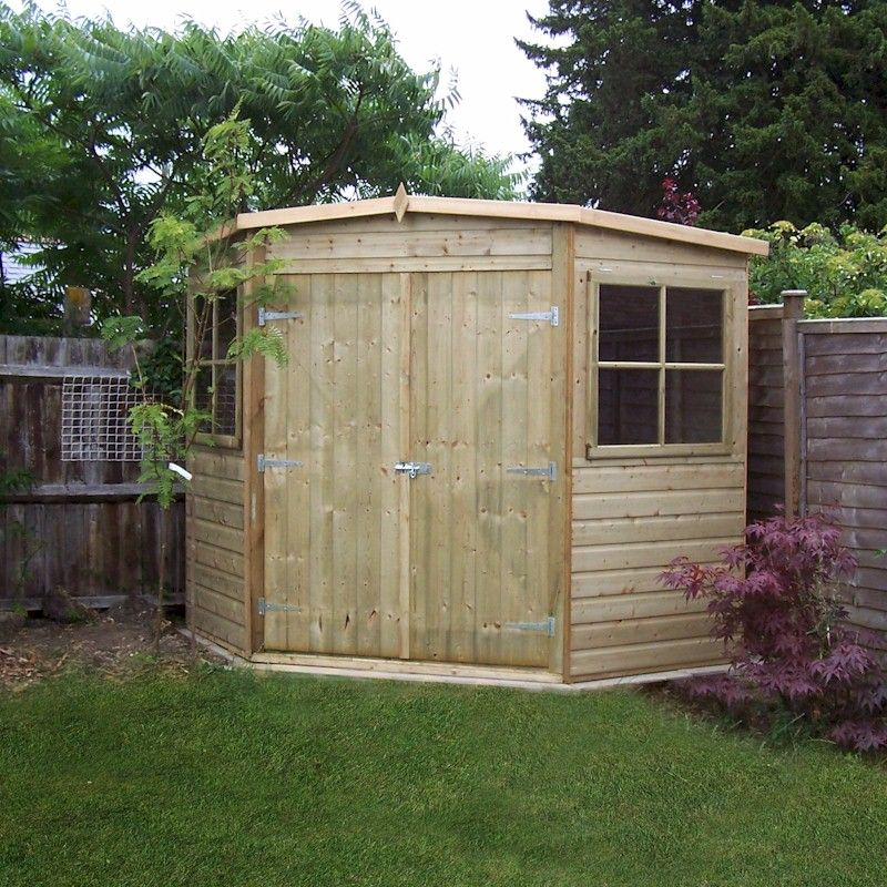 Shire pressure treated corner shed 7x7 one garden for Garden shed 7x7
