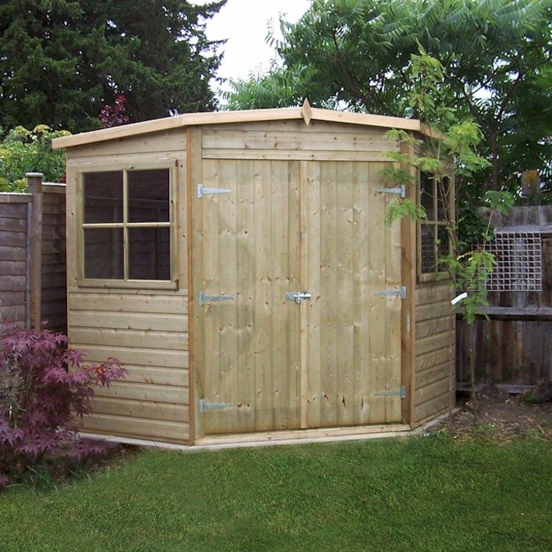 Pretty corner garden sheds 8x8 ideas landscaping ideas for Garden shed 8x8