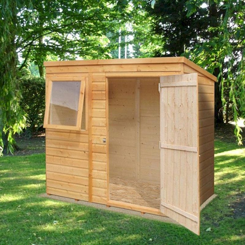 shire shiplap pent shed 6x4 one garden. Black Bedroom Furniture Sets. Home Design Ideas