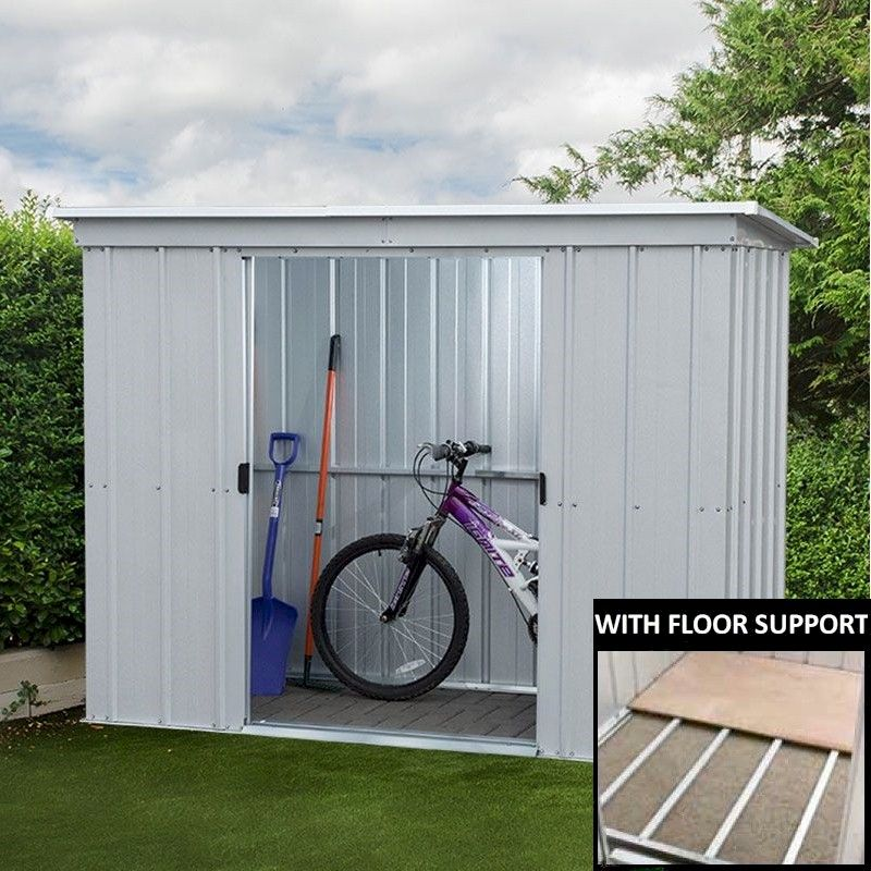 Garden Sheds Jersey Channel Islands yardmaster 84pz pent metal shed 8x4 with floor support kit - one