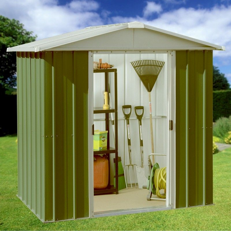 Yardmaster emerald deluxe 67geyz metal shed 7x6 one garden for Garden shed 7x6
