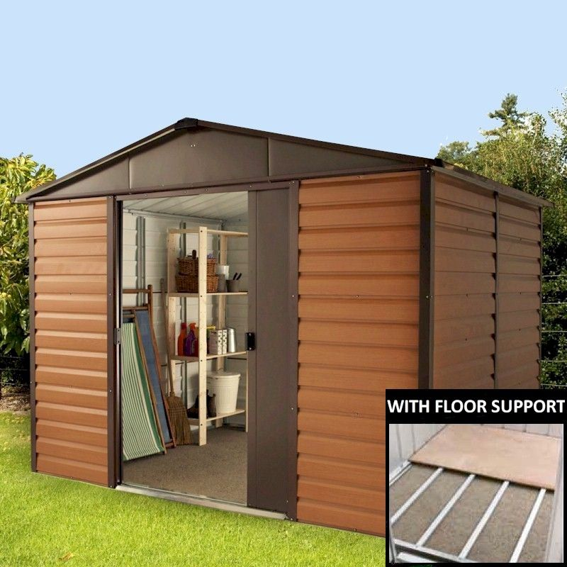 8x10 Metal Shed >> Yardmaster Woodgrain 108wgl Metal Shed 8x10 With Floor Support Kit