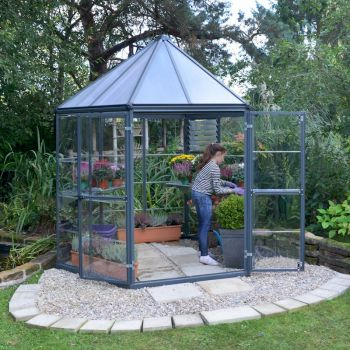 Palram Oasis Hexagonal 8ft Greenhouse - Grey image