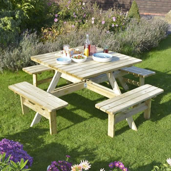 Picnic Tables One Garden - One sided picnic table