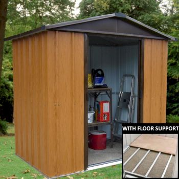 Yardmaster Woodview 65WGY Metal Shed 5x6 with Floor Support Kit