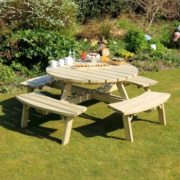 Zest Rose Round Picnic Table image