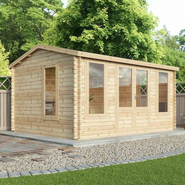 Mercia Home Office Director Double-Glazed 34mm Log Cabin 4.5 x 3.5m