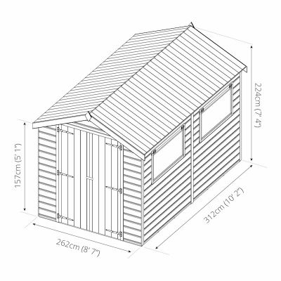 Mercia Premium Shiplap Double Door Apex Shed 10x8