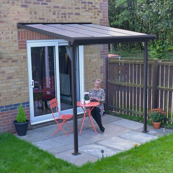 Palram Sierra Patio Cover 2.3m x 2.3m Grey Clear