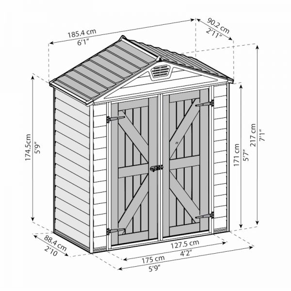 Palram Skylight Tan Plastic Shed 6x3