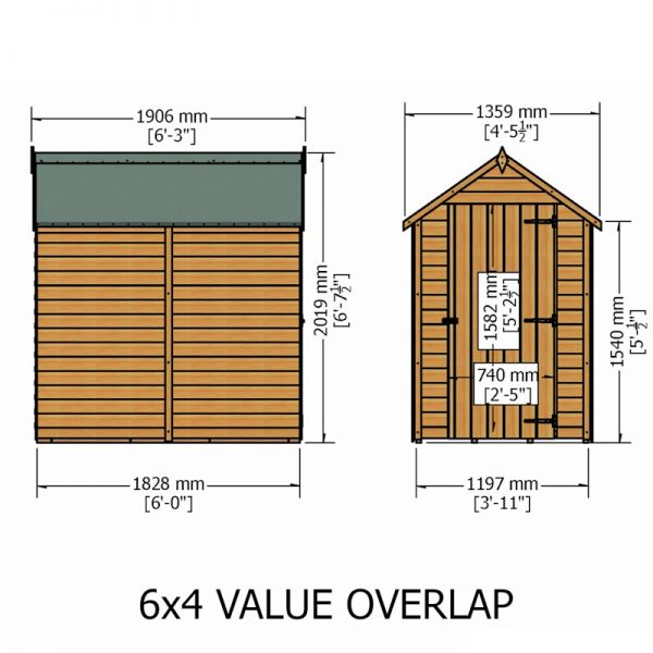 Shire Value Overlap Apex Shed 6x4