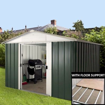 Yardmaster 1010GEYZ Metal Shed 10x10 with Floor Support Kit