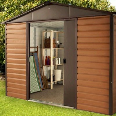 Yardmaster Woodgrain 108WGL Metal Shed 8x10 with Floor Support Kit