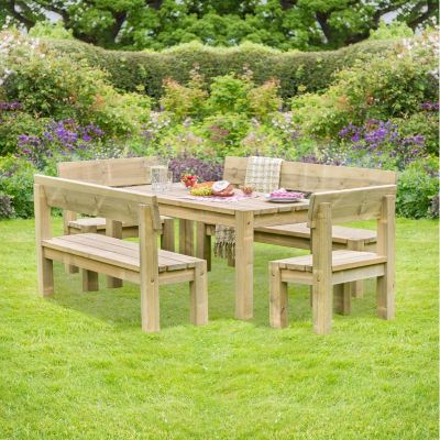 Zest Philippa Table with 2 Bench and 2 Chair Set