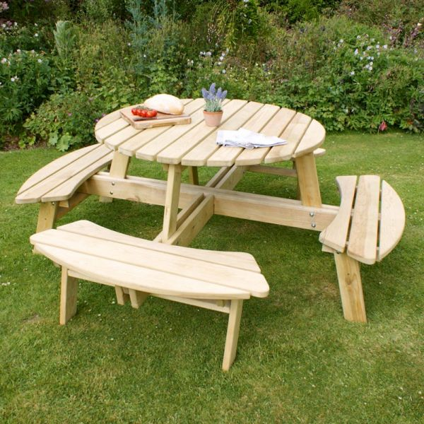 Zest Poppy Round Picnic Table